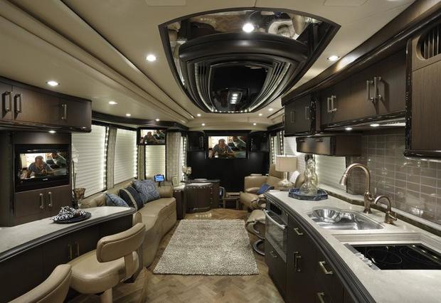 7 incredible multimillion-dollar motorhomes - CBS News on rv with car inside, rv houses inside, rv rentals inside, rv motorhomes inside, rv storage inside, rv trailers inside, rv campers inside, rv camping inside,