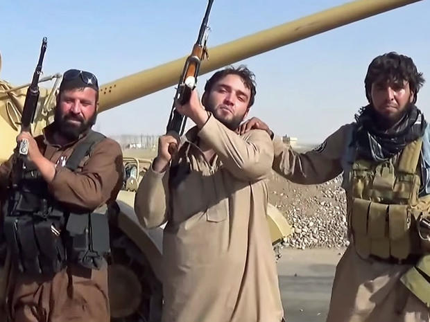ISIS militants are seen near the Mosul Dam