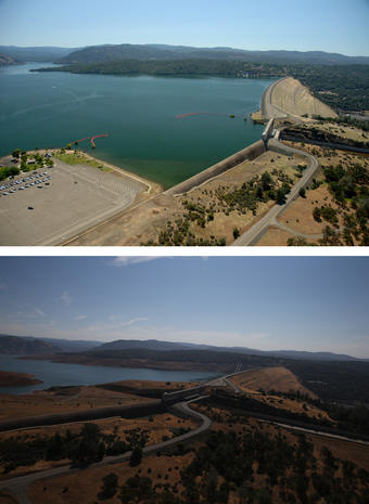 Oroville Dam - California drought drains lakes - Pictures
