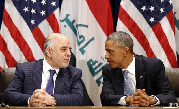 President Obama meets Iraqi Prime Minister Haider al-Abadi during the United Nations General Assembly in New York