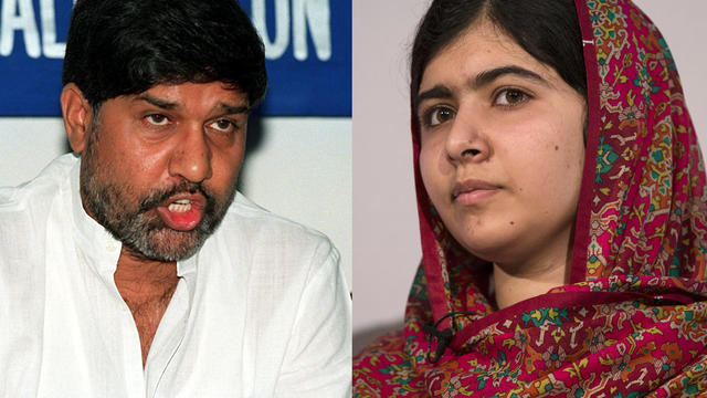 Nobel Peace Prize 2014 winners and children's rights activists Kailash Satyarthi of India, at left, and Malala Yousafzai of Pakistan