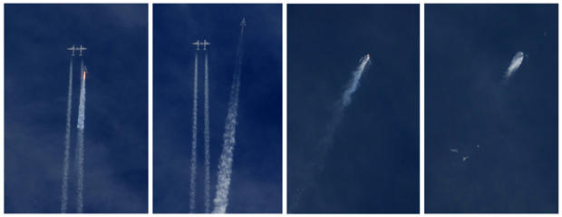 A combination of photos shows Virgin Galactic's SpaceShipTwo as it detaches from the jet airplane that carried it aloft and then exploding over the skies of the Mojave Desert, California, Oct. 31, 2014.