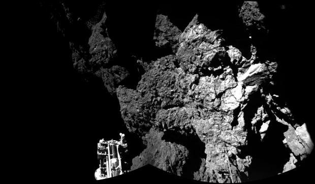 Rosetta's lander Philae pictured on the surface of Comet 67P/Churyumov-Gerasimenko