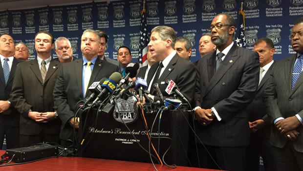 Patrick Lynch, the head of New York City's police union, speaks during a news conference Dec. 4, 2014, a day after a Staten Island grand jury's decision not to indict a police officer in the death of Eric Garner.