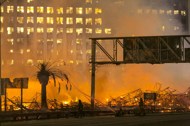 Massive fire burns in downtown L.A.
