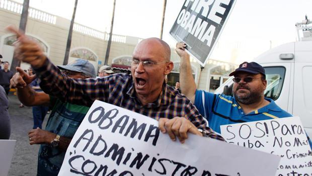 Anti-Castro activists protest in Little Havana in Miami, Florida, Dec. 17, 2014.
