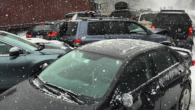 Multiple vehicles were involved in a pileup on Interstate 93 near Ashland, New Hampshire, Jan. 2, 2015.