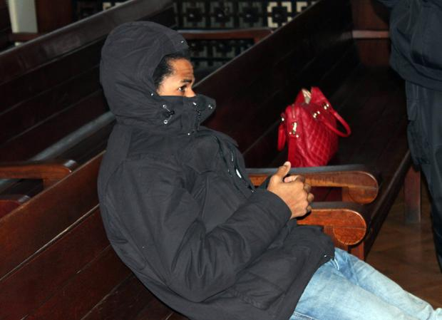 Fritz-Joly Joachin, 29, a French citizen of Haitian origin, appears in court in the town of Haskovo, southeastern Bulgaria