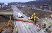 One dead in overpass collapse in Ohio