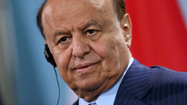 Yemeni President Abed Rabbo Mansour Hadi speaks with German Chancellor Angela Merkel, not pictured, to the media following talks at the Chancellery Oct. 4, 2012, in Berlin, Germany.