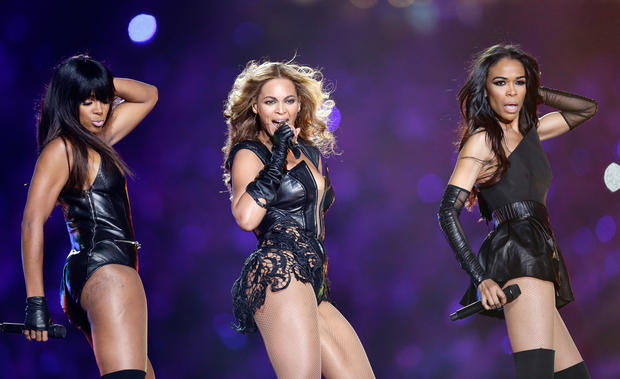 Kelly Rowland, Beyonce and Michelle Williams perform during the Pepsi Super Bowl XLVII Halftime Show at the Mercedes-Benz Superdome on Feb. 3, 2013, in New Orleans, Louisiana.