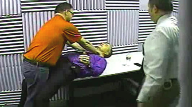 Mark Castellano demonstrates what happened the night Michelle Warner died