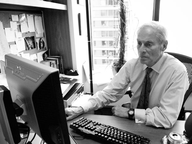 CBS News correspondent Bob Simon at his desk in his New York office in undated photo