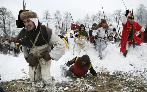"Locals re-enact the 1573 battle of ""Seljacka Buna"" in Donja Stubica, Croatia, Feb. 7, 2015."