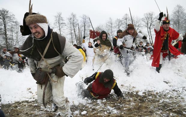 "Locals re-enact the 1573 battle of ""Seljacka Buna"" in Donja Stubica, Croatia, Feb. 7, 2015."