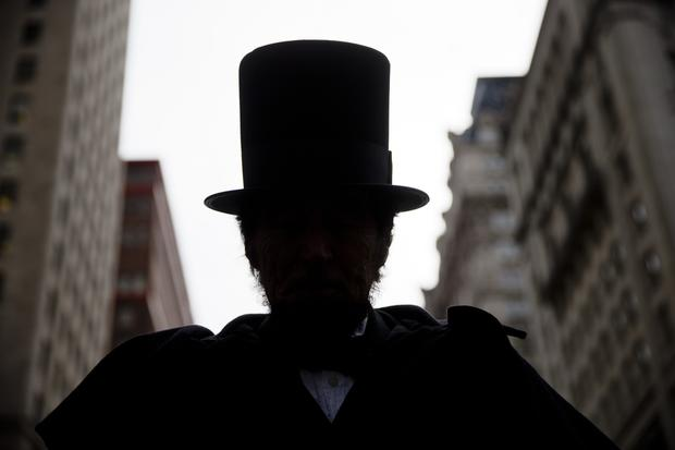 James Hayney portrays President Abraham Lincoln in a parade organized by the Union League of Philadelphia for the former president's birthday in Philadelphia Feb. 12, 2015.