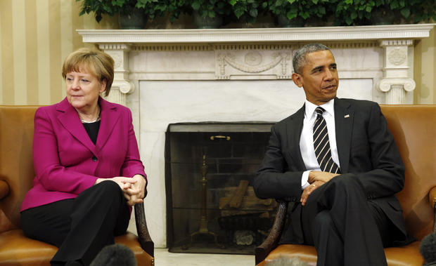 President Obama meets with German Chancellor Angela Merkel to discuss the crisis in Ukraine at the White House in Washington, D.C., Feb. 9, 2015.