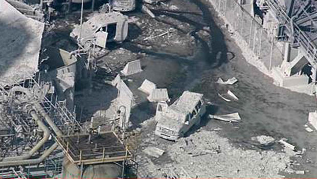 An aerial view shows the aftermath of an explosion at an Exxon-Mobil refinery in Torrance, California, Feb. 18, 2015.
