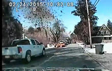 Incredible dashcam footage of a house exploding