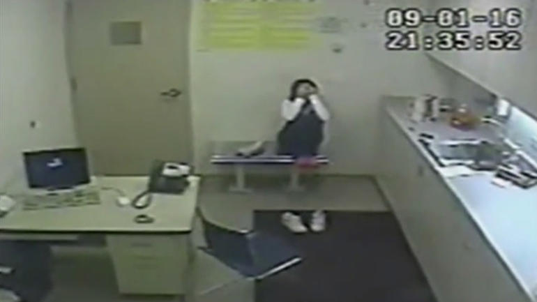 Video of Melissa Calusinski left alone in the interrogation room.