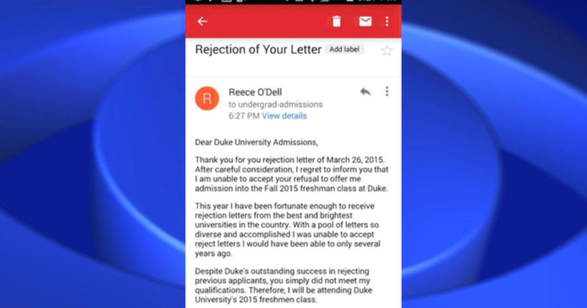 Student responds to college rejection with her own letter CBS News