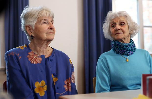 Auschwitz survivors Hedy Bohm (L) and Eva Pusztai-Fahidi attend a press conference of the International Auschwitz Committee in Lueneburg