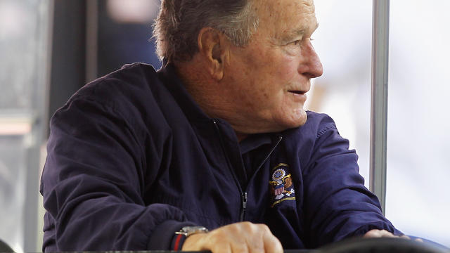Former President George H.W. Bush at game between Cincinnati Bengals and Houston Texans at NRG Stadium on November 23, 2014, in Houston