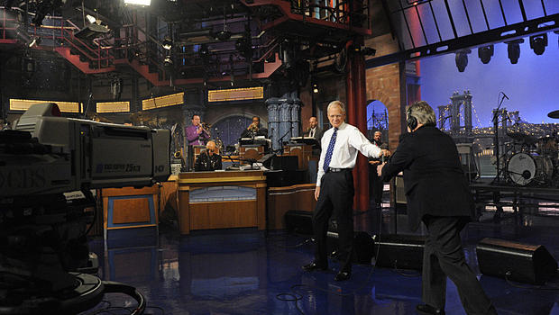 "David Letterman is seen in New York at the end of the final taping of ""The Late Show with David Letterman"" May 20, 2015, on the CBS Television Network."