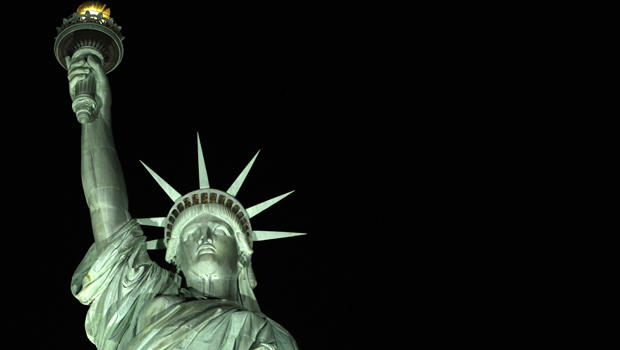 Statue of Liberty seen in bright glow after lighting system changed to light-emitting diodes - CBS News  sc 1 st  CBS News & Statue of Liberty seen in bright glow after lighting system ... azcodes.com