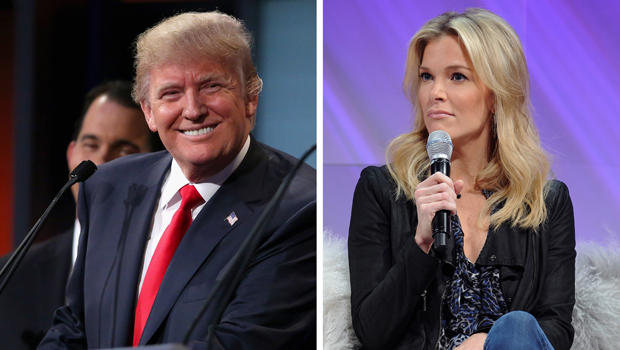 This composite image shows Republican presidential candidate Donald Trump at the Quicken Loans Arena Aug. 6, 2015, in Cleveland, Ohio, and Fox News Channel Anchor Megyn Kelly onstage during Cosmopolitan Magazine's Fun Fearless Life Conference powered by W