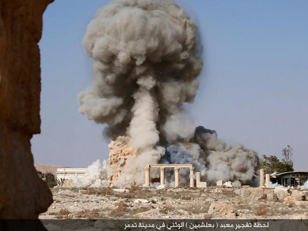 ​An image posted online by ISIS' branch in the Syrian province of Homs appears to show the destruction by explosives of the ancient temple of Baalshamin