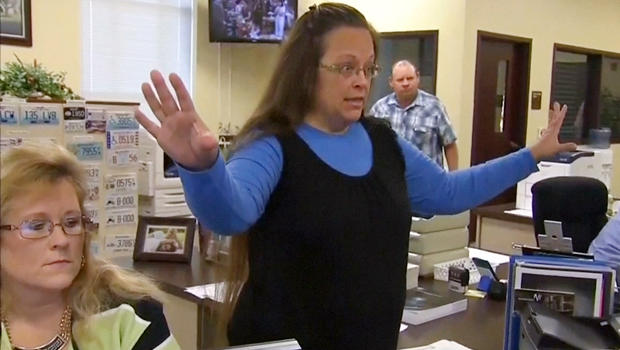 Rowan County Clerk Kim Davis gestures as she refuses to issue marriage licenses to a same-sex couple in Morehead, Kentucky, Sept. 1, 2015, in a still image from video provided by WLEX.