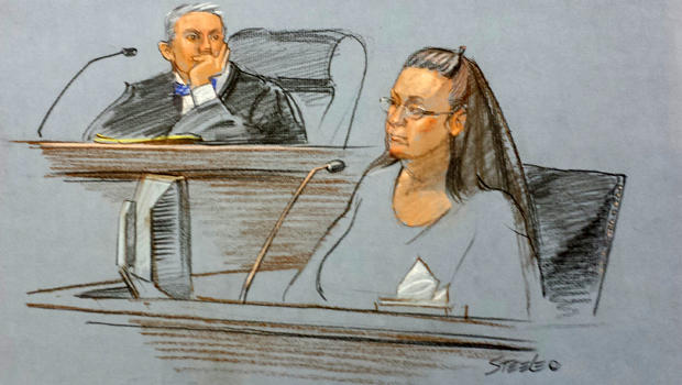 Rowan County Clerk Kim Davis testifies in the court of U.S. District Judge David Bunning in Ashland, Ky., in this sketch by Marlene Steele Sept. 3, 2015.