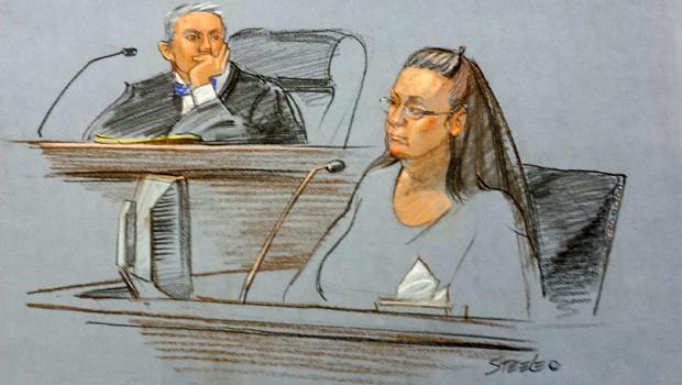 Rowan County Clerk Kim Davis testifies in the court of U.S. District Judge David Bunning in Ashland, Ky., in this sketch by Marlene Steele Sept. 3, 2015.