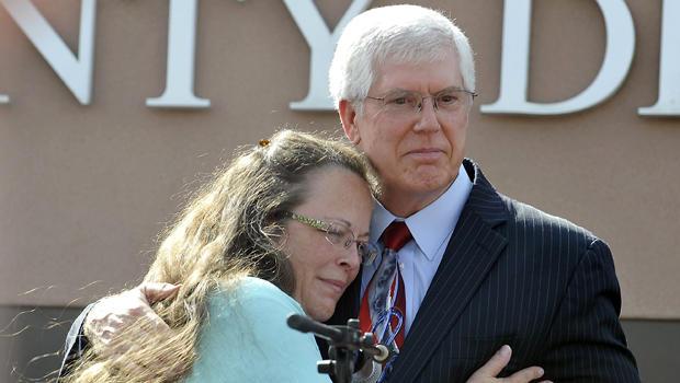 Kim Davis hugs her attorney Mathew Staver after walking out of jail in Grayson, Kentucky, Sept. 8, 2015.