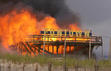 Fire engulfs N.J. boardwalk partially rebuilt after Superstorm Sandy