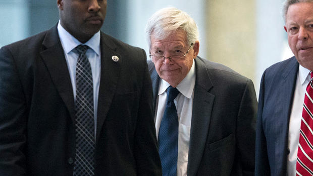 Surrounded by U.S. marshals, former Republican Speaker of the House Dennis Hastert leaves the Dirksen Federal Courthouse Oct. 28, 2015, in Chicago.