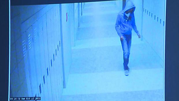 Philip Chism, 14, is seen in surveillance video at Danvers High School in Danvers, Massachusetts, in 2013.