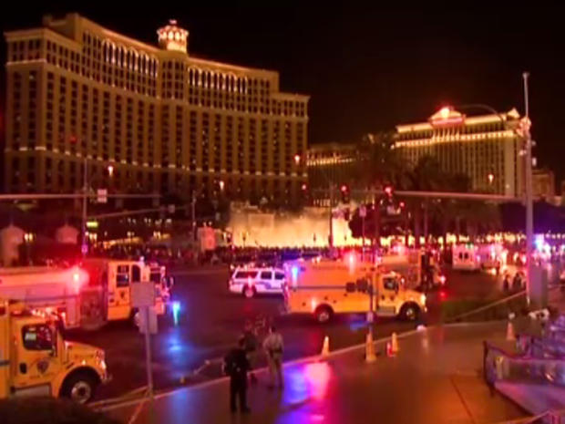 Emergency vehicles on Las Vegas Strip after hit-and-run driver rammed into dozens of pedestrians on December 20, 2015