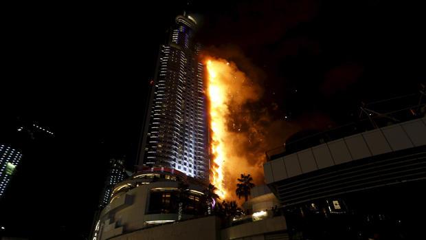 Dubai skyscraper engulfed in flames