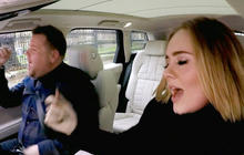 Adele and James Corden take a spin around London