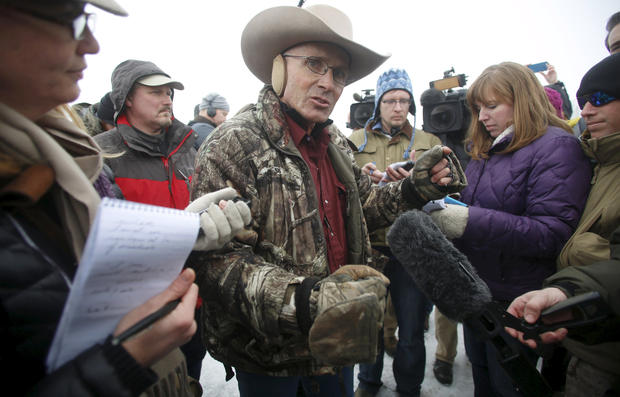 "Arizona cattle rancher Robert ""LaVoy"" Finicum talks to the media at the Malheur National Wildlife Refuge near Burns, Oregon, Jan. 5, 2016."