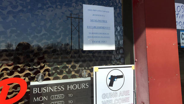 "A sign on the front door of the Save Yourself Survival and Tactical Gun Range in Oktaha, Oklahoma, says the range is a ""Muslim-free"" establishment."