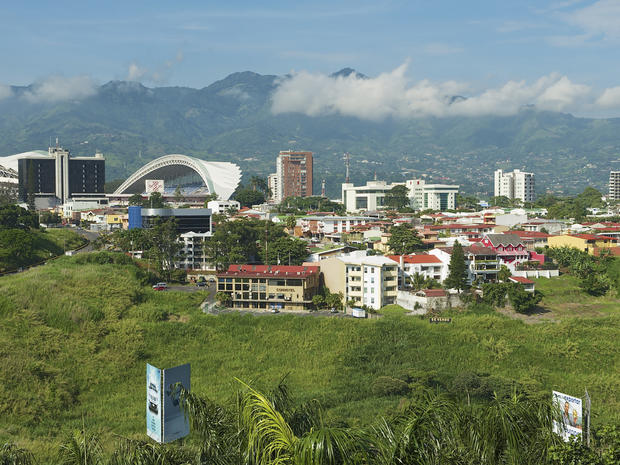 National Stadium and buildings in San Jose, Costa Rica.