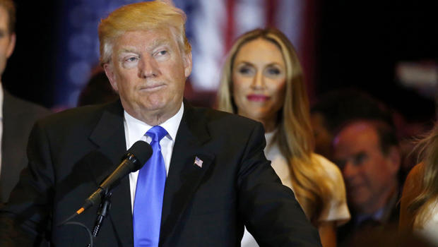 Republican presidential candidate and businessman Donald Trump pauses as he speaks to supporters after his rival, Sen. Ted Cruz, dropped out of the race for the Republican nomination following the results of the Indiana state primary, at Trump Tower in Ma