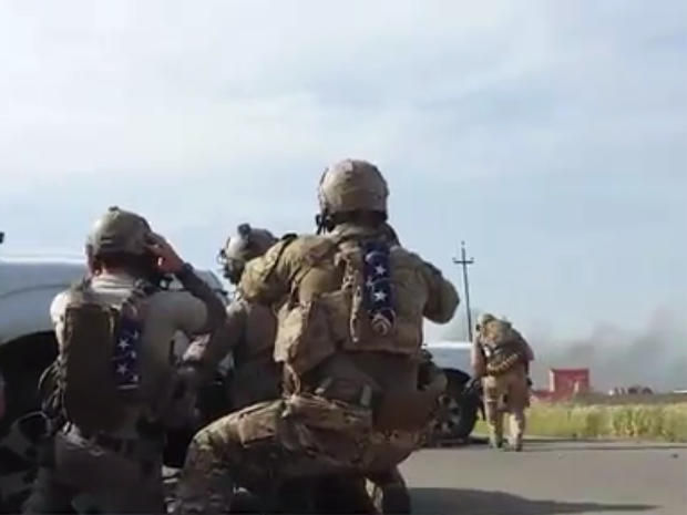 Video handed to The Guardian newspaper appears to show U.S. Navy SEALs engaged in a gun battle in Tel Asqof, Iraq, May 4, 2016, alongside Kurdish peshmerga forces, after coming under attack by ISIS militants