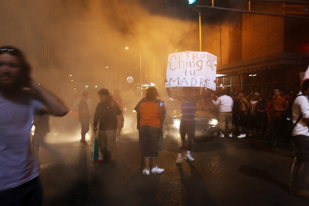 Protesters block streets following Donald Trump rally and speech at Albuquerque Convention Center on May 24, 2016