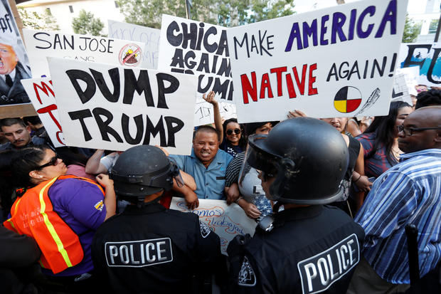 Protester chants during demonstration outside Donald Trump campaign rally in San Jose, California,  on June 2, 2016