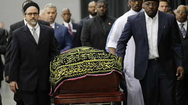 Muhammad Ali's casket arrives at Freedom Hall for his Jenazah, a traditional Islamic Muslim service, on June 9, 2016, in Louisville, Kentucky.