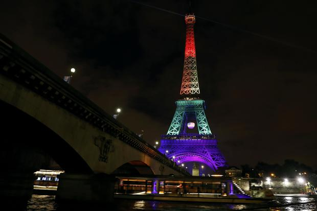 World landmarks lit in pride colors